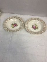 Vintage 2 ROYAL CHINA INC Rose Flower Pattern Bowl 22k GOLDTrim Annis - $23.27