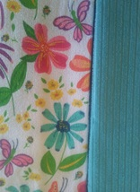 KITCHEN TOWELS 3-pc Floral Hand Towel Flower Butterfly Turquoise Green image 3