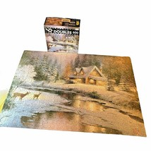 Ceaco Thomas Kinkade Deer Creek Cottage Double Jigsaw Puzzle 600 Piece Complete  - $9.89
