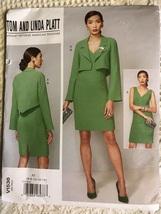 Vogue V1536 Sewing Pattern Ladie Plunge Neck Dress & Angel Sleeve Jacket sz 6-14 - $32.00