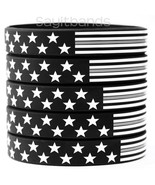 50 US Flag Stars and Stripes Wristband Featuring Thin GRAY Line - USA Br... - $28.59