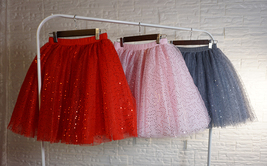 Women Mini Tutu Tulle Skirt A-line Layered Puffy Tutu Outfit Red White Pink Gray image 11