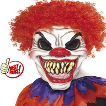 Latex Halloween Scary Sinister Smile Creepy Clown Disguise Mask Washable... - $23.36