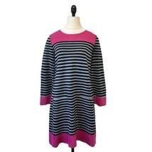 Eliza J Gray Black Pink Striped pocketed knit shift Sweater Dress Sz small - $24.74