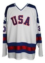 Jim Craig #30 Team USA Miracle On Ice Hockey Jersey New White Any Size image 4