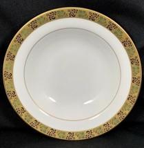 "Mikasa Normandy Soup Bowl 8 3/8"" Diameter Gold Black Green Leaf Band - $14.84"