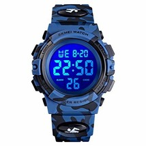 Boys Camouflage LED Sports Watch, Kids Digital Sport Waterproof Led Wrist Watche