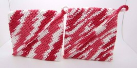Crocheted Potholder Handmade Red and White Double Sided Set of 2 Double ... - $9.25