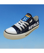 Kansas city royals shoes womens kc royals sneaker baseball fashion canva... - $59.99