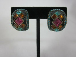 Heidi Daus Deco Master Clasp Crystal Enamel Hoop Clip On Earrings - $49.49