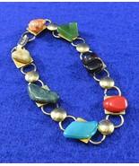"Vintage Multi Stone/ Semi-precious Gemstone Bracelet - 60's - 8.5"" large... - $12.50"