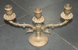 Judaica Shabbat Candlestick Candle Holder Candelabra Bronze Vintage Israel 1960s image 4