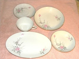 Set 13 Golden Rose Fine China, Japan, 2 sizes saucer, plate, bowl, platt... - $20.95