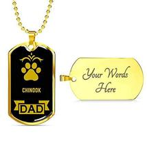 """Dog Lover Gift Chinook Dad Dog Necklace Engraved 18k Gold Dog Tag W 24"""" - $60.34"""
