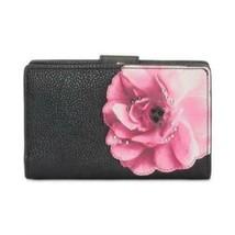 Calvin Klein Black Pink Floral Gold Leather Bifold Wallet $108 NWT