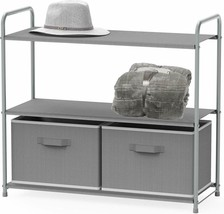Shelf Gray With 2 Fabric Drawers ORGANIZATION! STORAGE! NEAT! SIMPLE! - €45,36 EUR