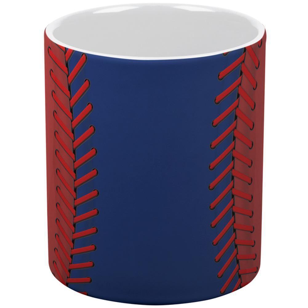 Baseball League Blue and Red All Over Coffee Mug