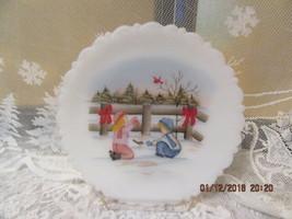 "FENTON ART GLASS 1987 ""CHRISTMAS FANTASY SERIES"" ""SHARING"" 8"" PLATE LMT ED. - $65.00"
