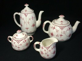 "Vtg FRANCISCAN English Ironstone ""Erica"" 7 Piece Coffee/Tea Cream & Sugar Set - $120.94"