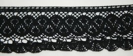 Simplicity 1868819031 Black Large Fan Cluny Lace Trim 12 Yards Long image 1