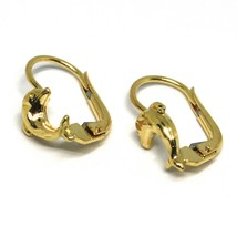 Drop Earrings Yellow Gold 750 18K, from Baby Girl Dolphins Hammered image 2