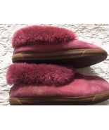 Ugg Lexi 1870 Womens Cuff Slippers Pink Size 9 Suede Leather Shearling L... - $39.99
