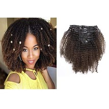 Loxxy Clip In Human Hair Extensions 4B Afro Kinky Curly Clip Ins Real Remy Afro