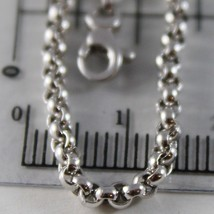 18K WHITE GOLD CHAIN 15.75 IN, DOME ROUND CIRCLE ROLO LINK 2.5 MM, MADE IN ITALY image 2