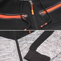 Men's Fleece Zipper Moto Quilt Zip Up Hoodie Drawstring Sweater Jacket Slim Fit image 4