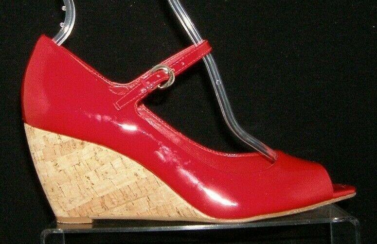 Franco Sarto 'Fashioni' red patent leather peep toe mary jane cork wedges 8M image 8
