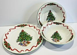Tabletops Unlimited Christmas Tree Ribbons Serving Plate and Bowls (2) - $21.28