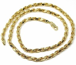 """18K YELLOW GOLD CHAIN NECKLACE 4 MM BIG DIAMOND CUT SQUARE ROPE LINK, 19.70"""" image 1"""