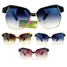 SA106 Runway Womens Diva Oversize Half Rim Butterfly Octagon Eye Brow Sunglasses - $12.95