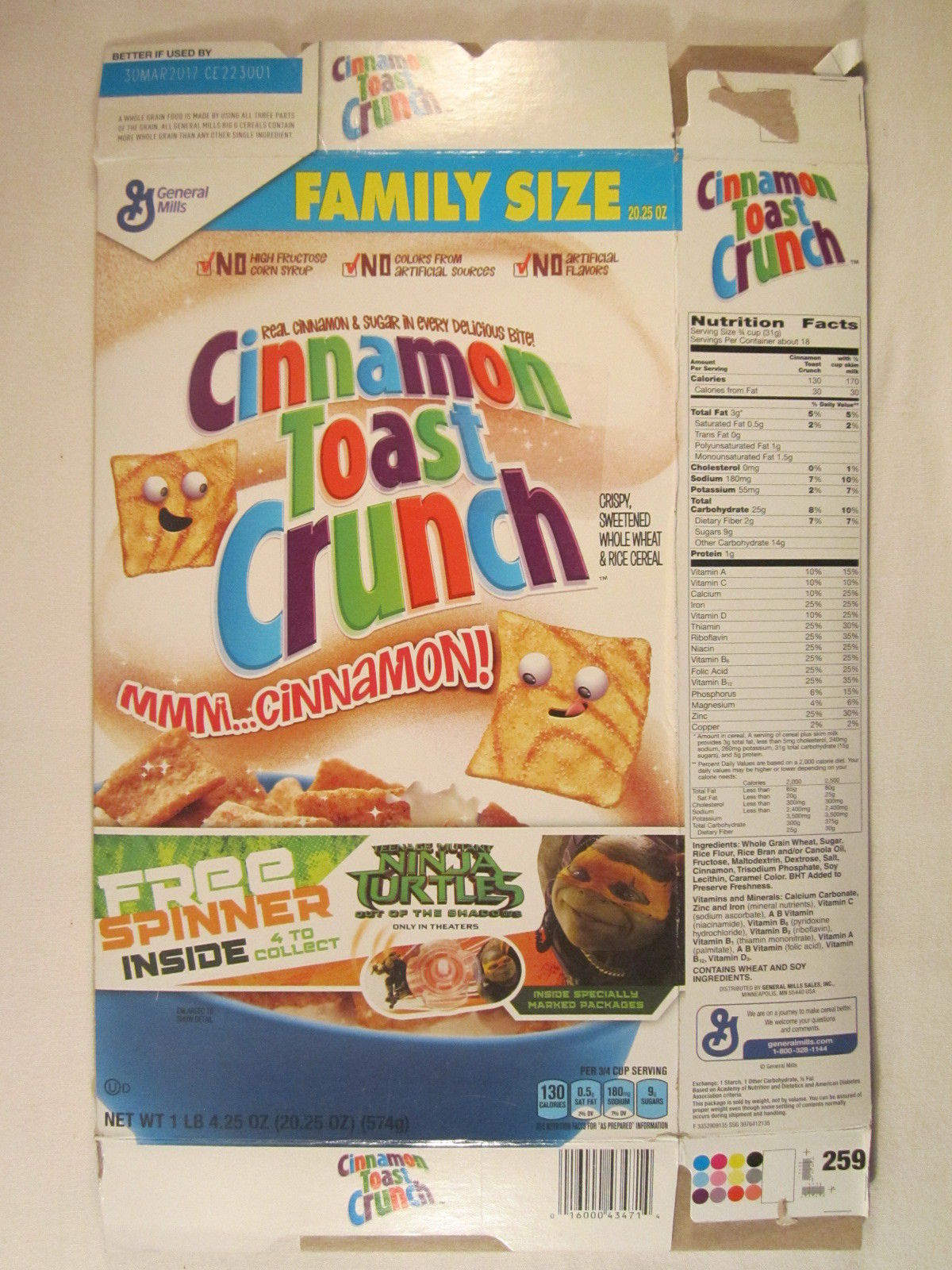 Primary image for MT Cereal Box CINNAMON TOAST CRUNCH 2016 20.25oz NINJA TURTLES [G7D5e]