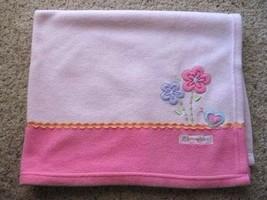 Carters Child Of Mine Pink Fleece Adorable Snail Flower Baby Blanket Girl  - $12.99