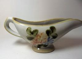 Louisville Stoneware Pottery Country Flower Yellow Gravy Sauce Boat Kent... - $29.03