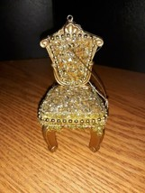 Gold Gem Sparkle Chair Christmas Ornament Vintage - $3.96