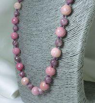 Rhodonite and Lepidolite Round Gemstone Beaded Necklace - $58.00