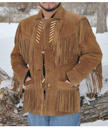 Mens New Native American Brown Buckskin Suede Leather Fringes Beads Jack... - $143.10+