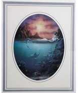 Dolphins Fish Coral Reef Tropical Ocean Sunset Islands Wall Picture Fram... - $34.64