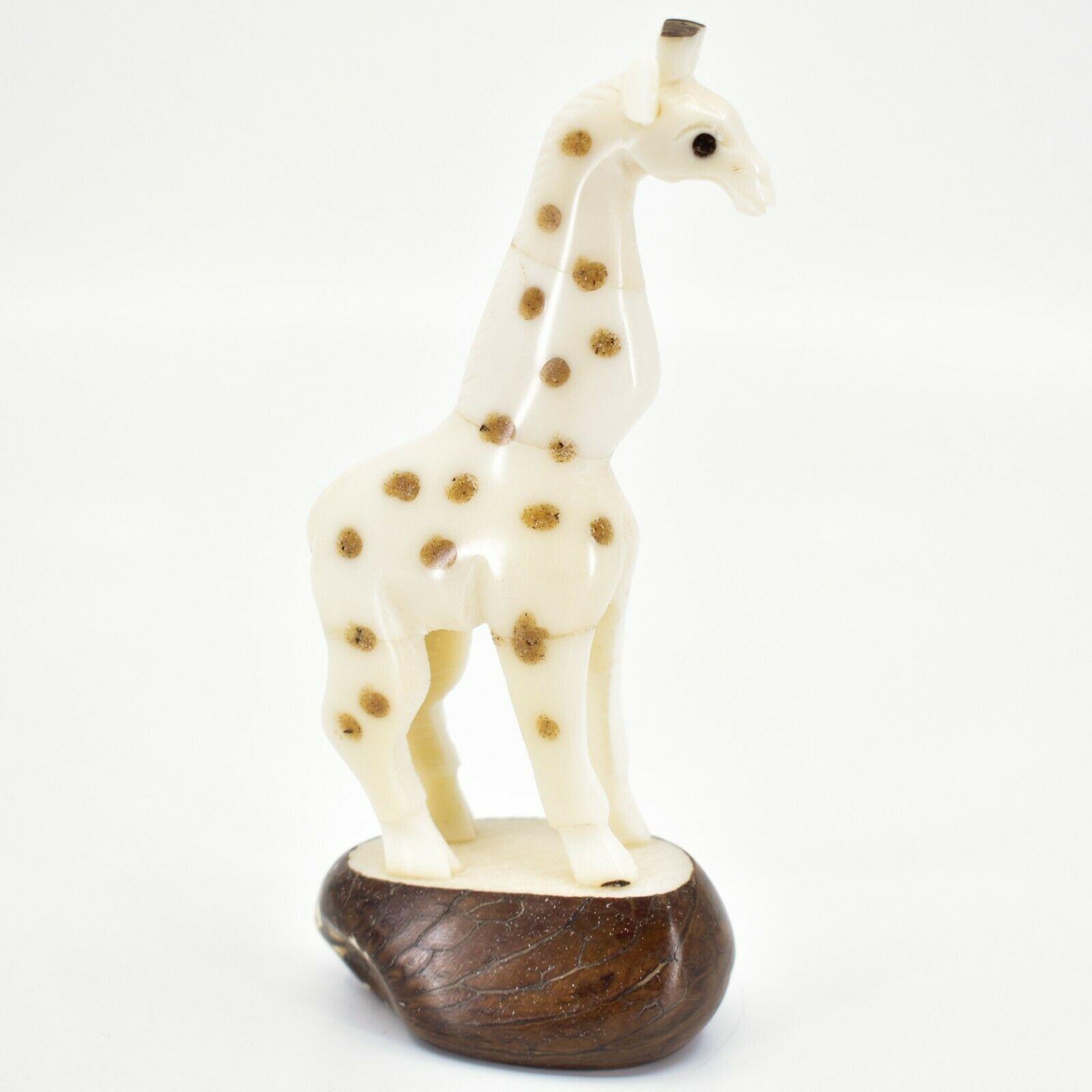 "Hand Carved Tagua Nut Carving Giraffe 5.5"" Figurine Handmade in Ecuador"