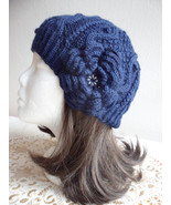 Slouchy beanie women hat, Womens or girl Beanie, Dark beanie with knitte... - $29.00