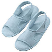 Terry Memory Foam Slippers-MED-LIGHTBLUE - $20.24