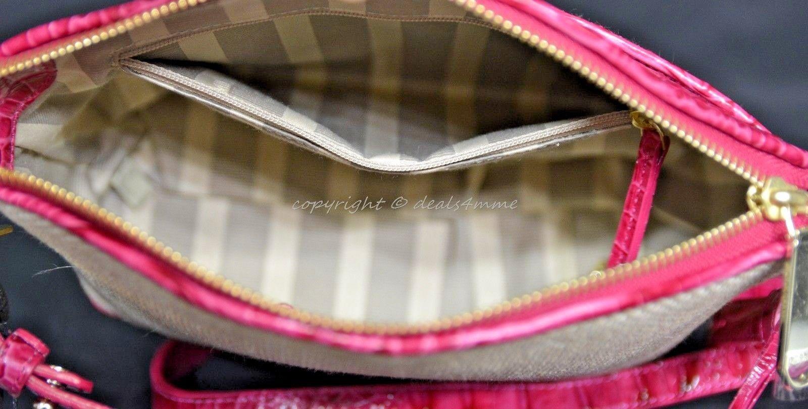 NWT Brahmin Mini Duxbury Shoulder Bag in Punch Harbor, Pink Leather/Beige Fabric image 4