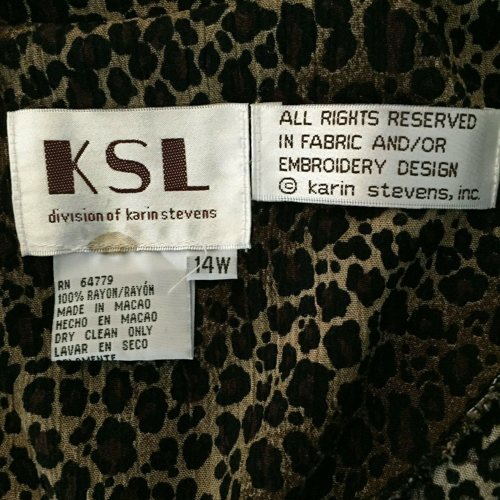KSL Karin Stevens Sleeveless Maxi Dress and Jacket Size 14W Brown Animal Print image 12