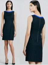 $268 Elie Tahari Holly Indigo Colorblock Sheath Stretch Knit Sleeveless Dress - $157.50