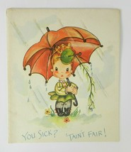 Vintage American Greeting Card Get Well Soon Cute Child Umbrella Unused - $13.85