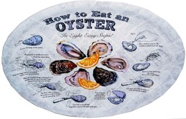 How To Eat a Oyster Serving Oval Plates Platters Set of 4 New Reusable - $24.63
