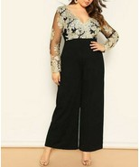 Black Embroidered Mesh Bodice Deep V Neck Wide Leg Jumpsuit Plus Size Wo... - $55.79