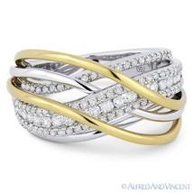0.86ct Round Cut Diamond 18k Yellow & White Gold Right-Hand Overlap Fash... - €2.257,14 EUR